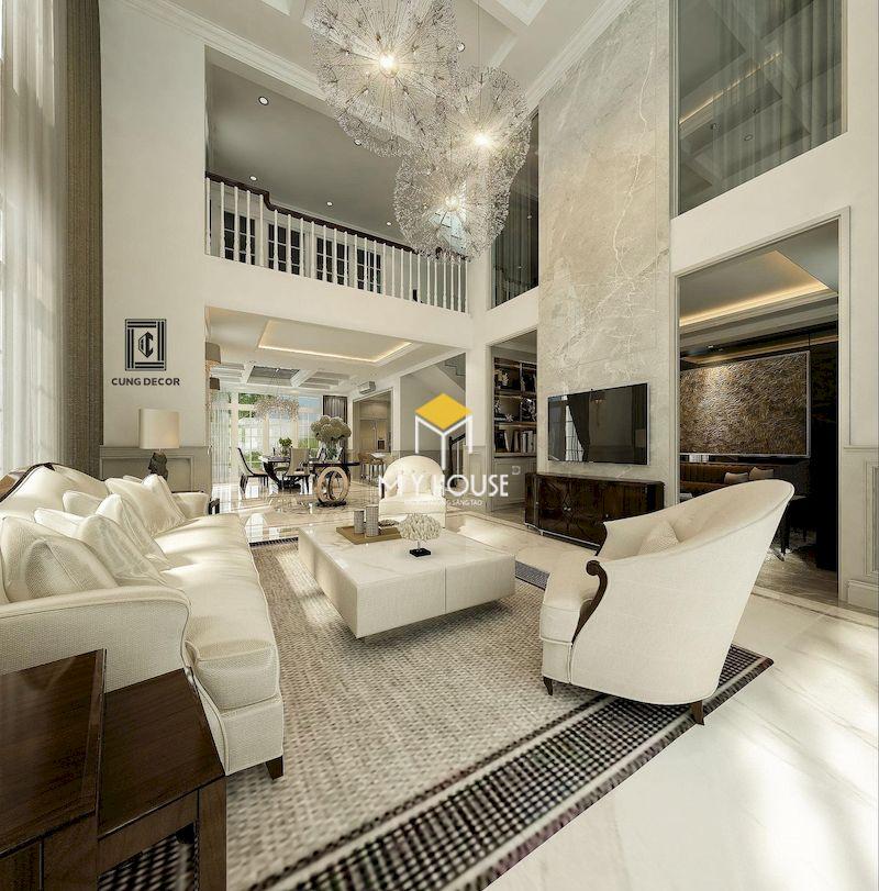 Thiết kế phòng khách thông tầng màu trung tính