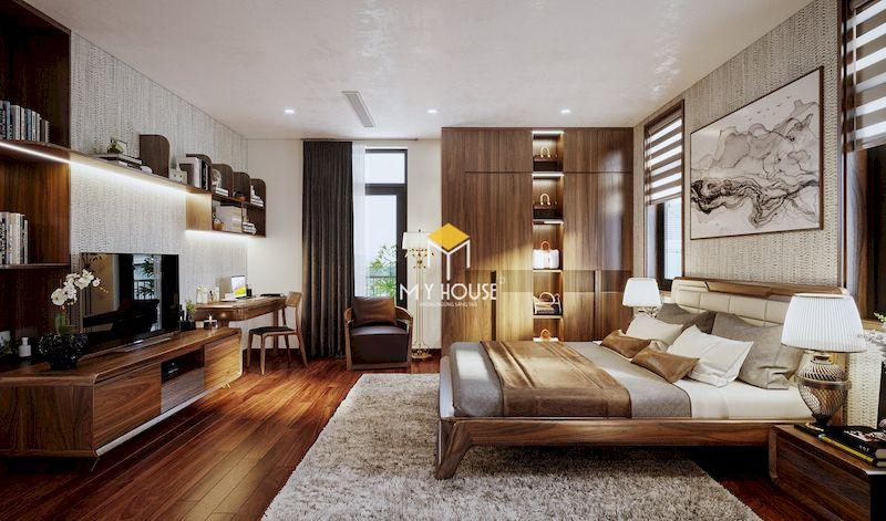Mẫu phòng ngủ master hiện đại gỗ óc chó