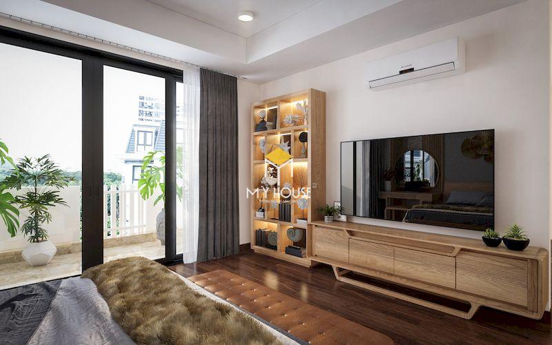 Kệ tivi, giá sách gỗ sồi trong trong phòng ngủ master