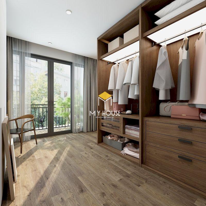 Phòng thay đồi riêng cho phòng ngủ master hiện đại