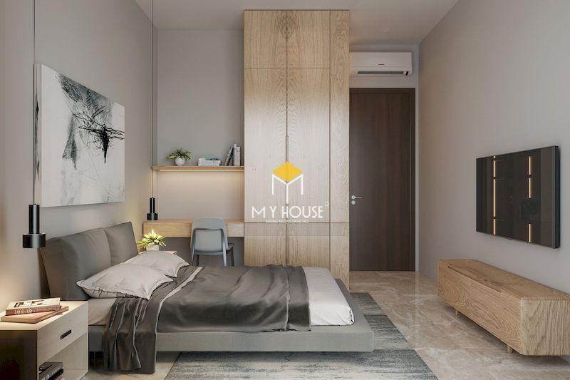Thiết kế nội thất phòng ngủ master hiện đại gỗ tự nhiên sồi