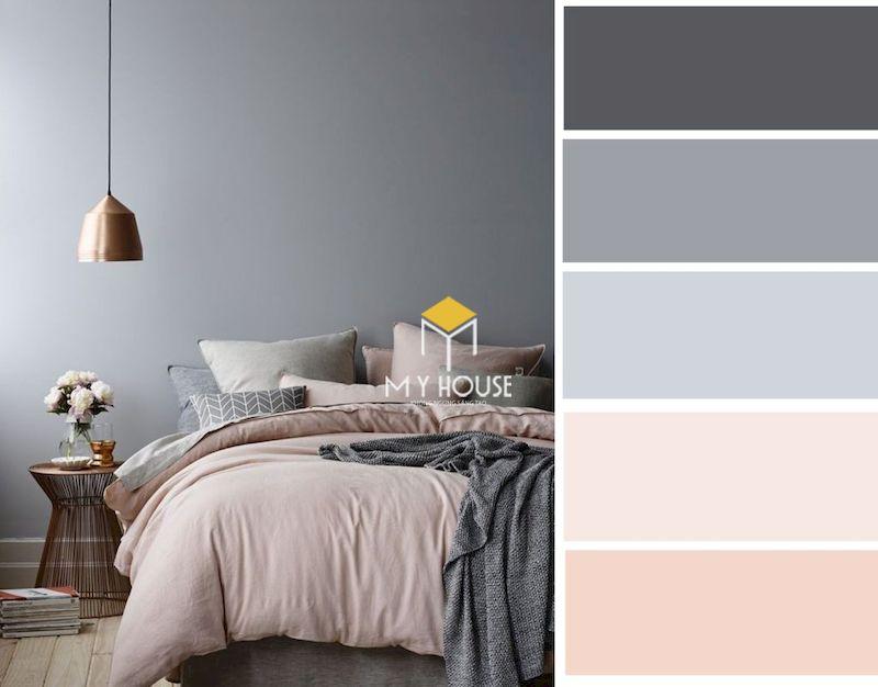 Cách kết hợp màu sắc trong phòng ngủ màu xám phong cách hiện đại