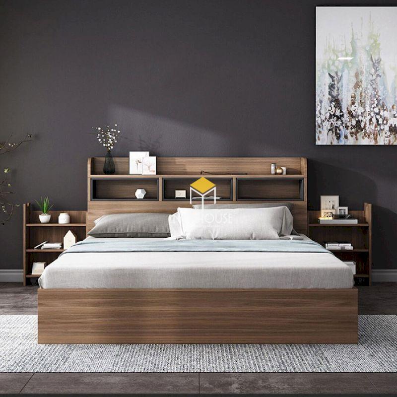 Phòng ngủ gỗ tự nhiên màu xám