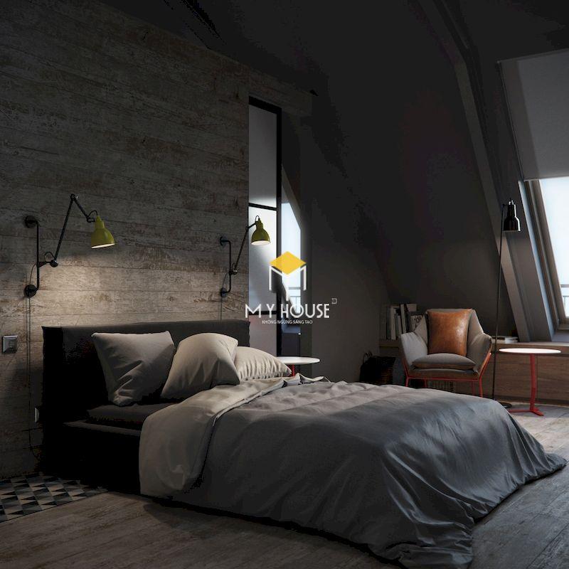 Phòng ngủ tầng áp mái với tone màu xám
