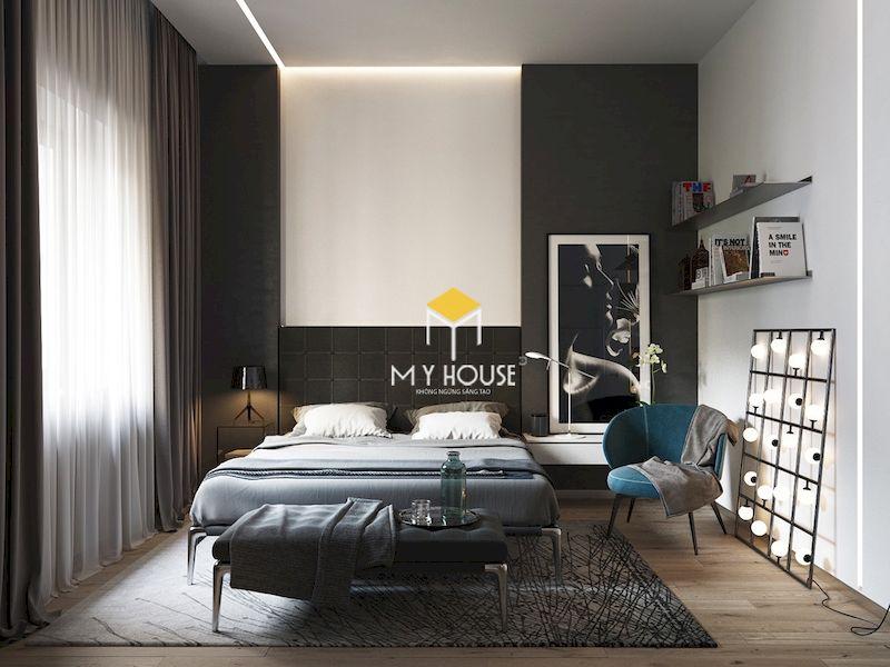 Thiết kế và trang trí phòng ngủ màu xám ấn tượng