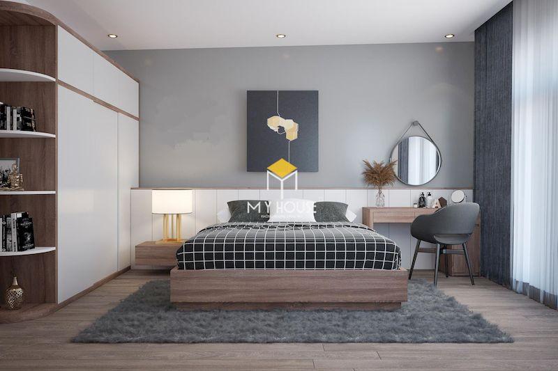 Phòng ngủ màu xám trắng