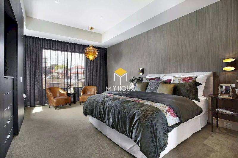 Phòng ngủ màu xám ghi