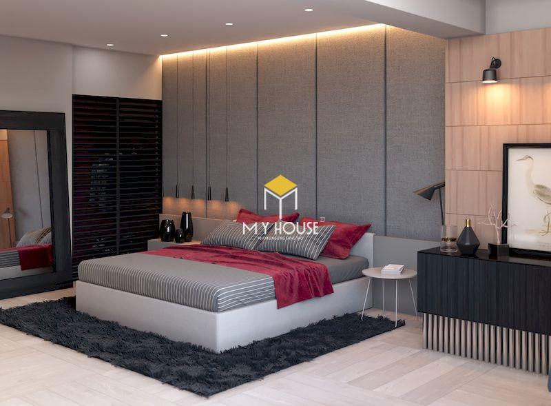 Phòng ngủ màu ghi xám đơn giản phong cách hiện đại
