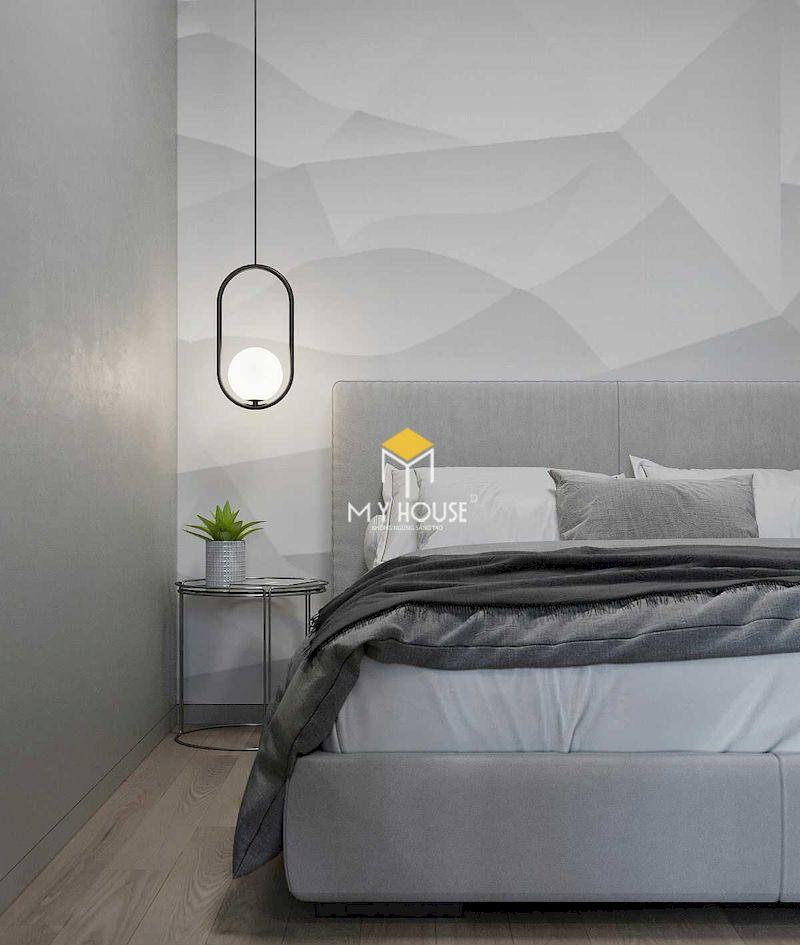 Thiết kế mảng tường ấn tượng và cá tính cho phòng ngủ hiện đại màu xám