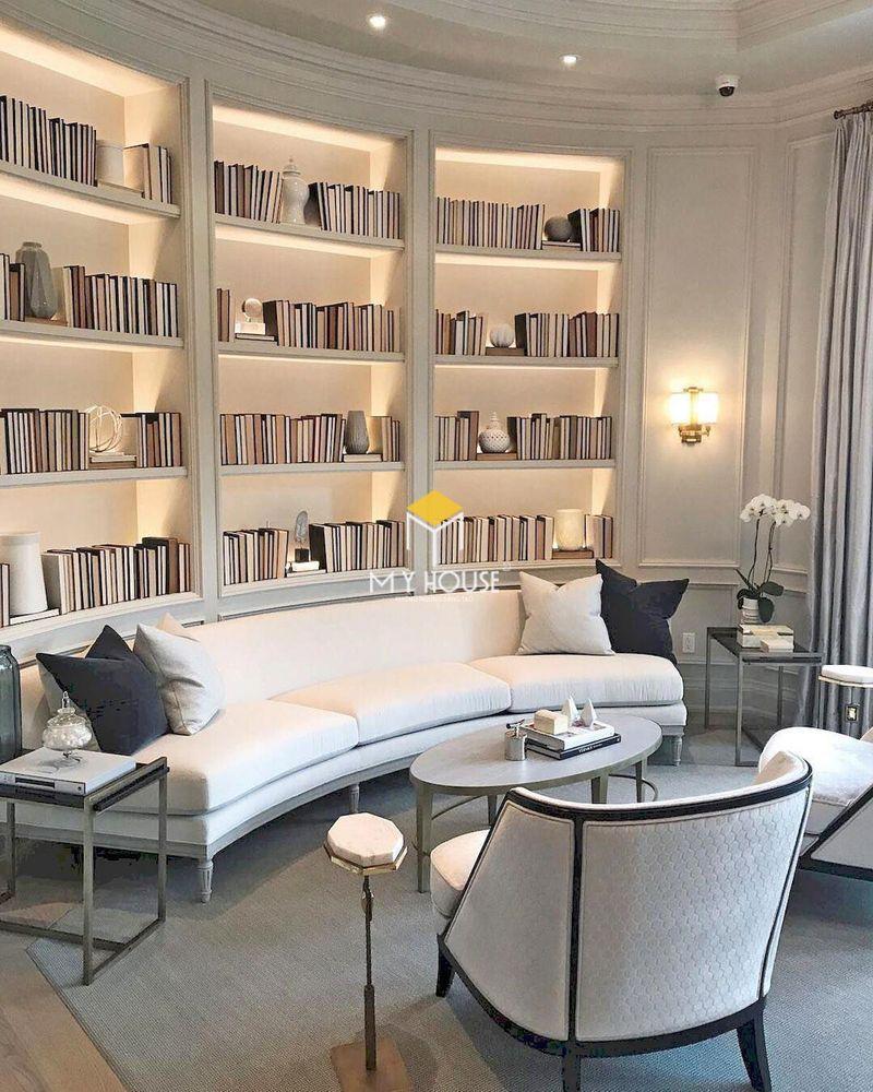 Phòng đọc sách, phòng sinh hoạt chung đẹp cho gia đình phong cách châu Âu