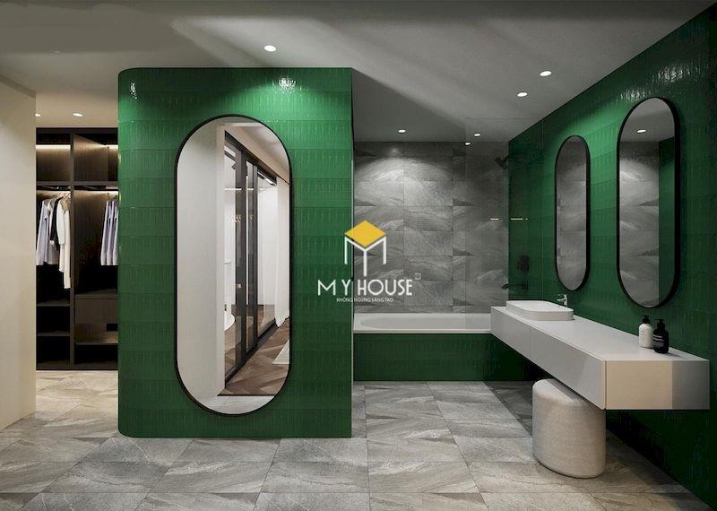 Thiết kế phòng tắm kết hợp phòng thay đồ rộng cho phòng ngủ master 40m2