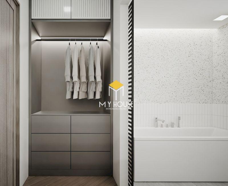 Mẫu phòng thay đồ trong phòng tắm gọn gàng và thuận tiện sử dụng