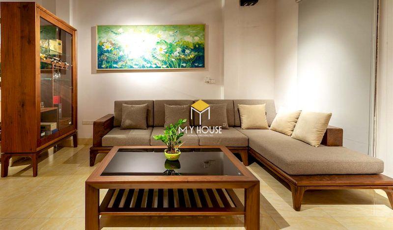 Thiết kế sofa gỗ góc chứ L sang trọng, tiết kiệm diện tích