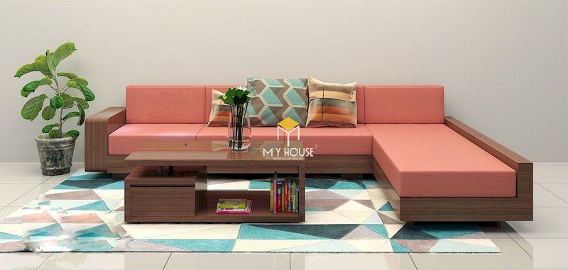 Kích thước sofa gỗ góc chữ L phủ hợp với nội thất phòng khách
