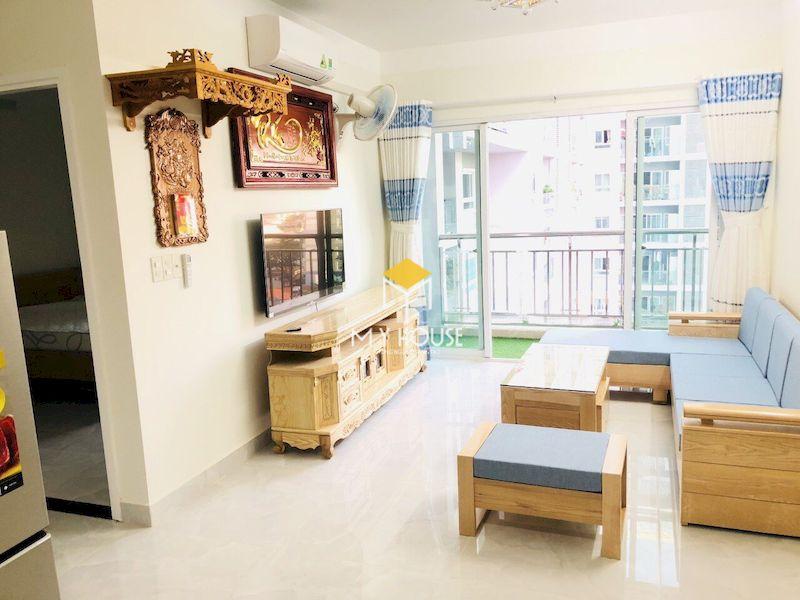 Mẫu ghế sofa gỗ sồi chữ L cho chung cư nhỏ hẹp
