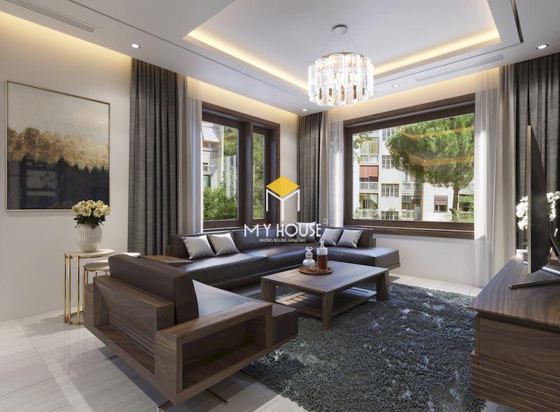 Mẫu bàn ghế sofa gỗ góc chứ L đẹp cho nội thất phòng khách