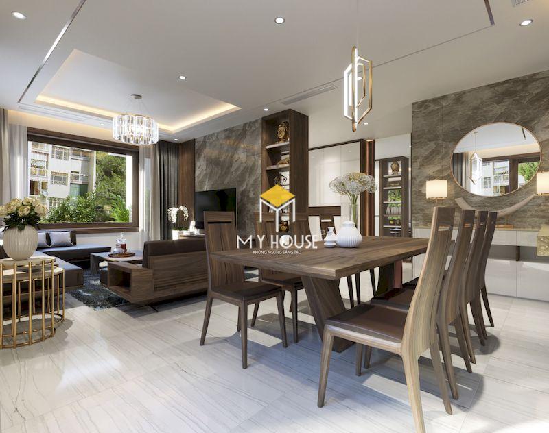 Thiết kế nội thất phòng khách bếp liên thông chất liệu gỗ óc chó