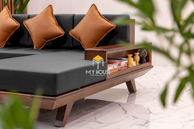 Thiết kế sofa gỗ góc chứ L sang trọng, cao cấp