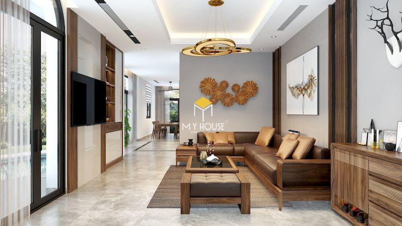 Bộ bàn ghế sofa gỗ góc chữ L cho biệt thự Vinhomes Green Bay
