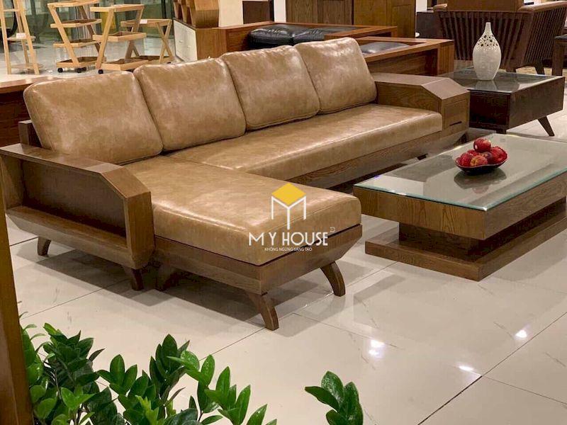 Bàn ghế sofa gỗ óc chó - da bò tự nhiên