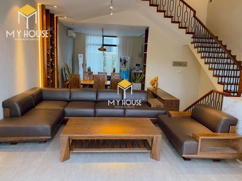 Mẫu ghế sofa gỗ góc chữ L - nội thất gỗ óc chó