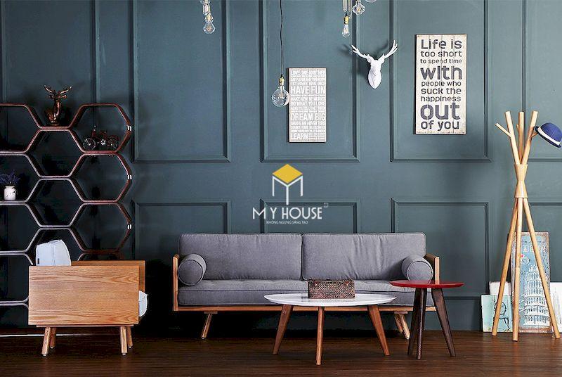 Mẫu sofa gỗ kiểu Nhật cho phòng khách chung cư hiện đại
