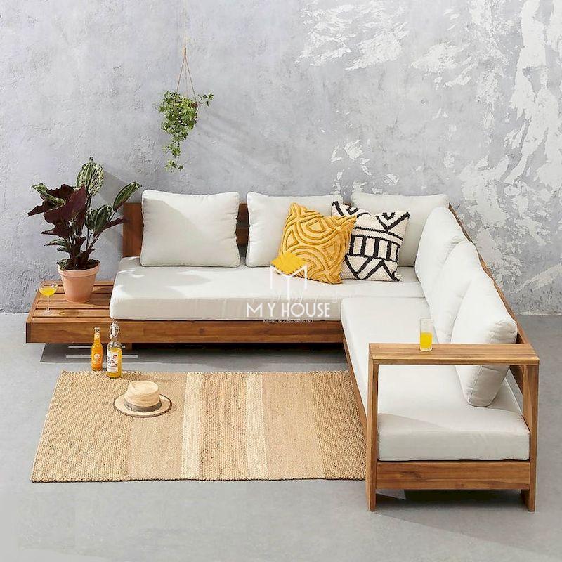 Mẫu sofa gỗ nệm chữ L