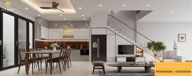 Thiết kế nội thất biệt thự Xanh Villa - phòng bếp và phòng ăn