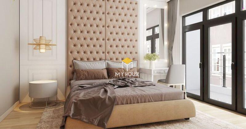 Phòng ngủ với giường ngủ phong cách châu Âu