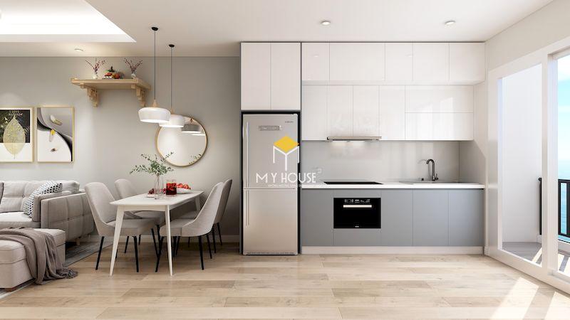 Mẫu thiết kế nội thất phòng khách bếp liên thông cho chung cư