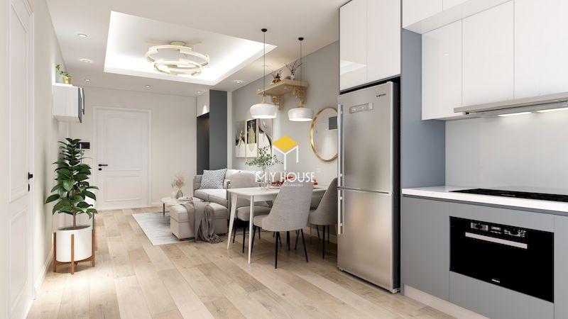 Phòng khách nội thất hiện đại màu trắng chủ đạo