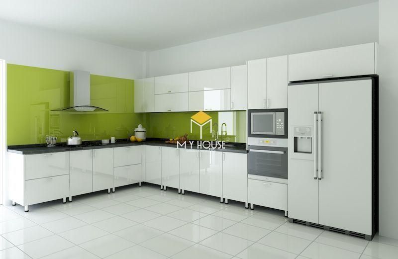 Tủ bếp màu trắng phủ acrylic