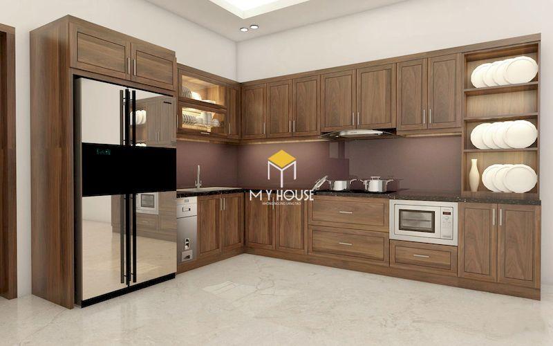 Tủ bếp hiện đại chữ L gỗ tự nhiên