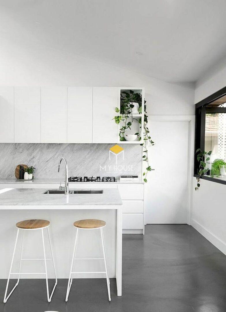 Thiết kế nhà bếp đẹp màu trắng