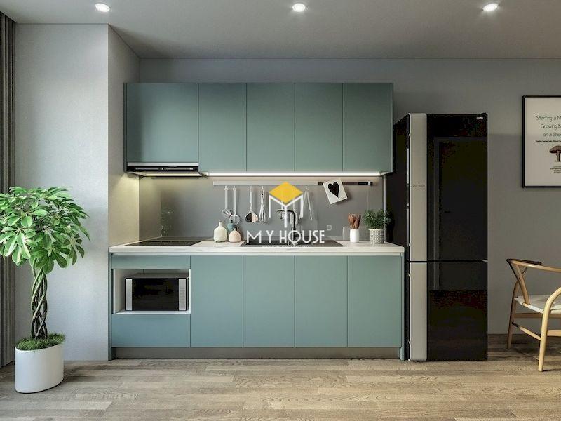 Mẫu tủ bếp gỗ công nghiệp phủ laminate  màu xanh