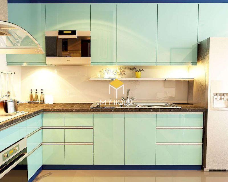 Tủ bếp chứ L màu xanh lơ