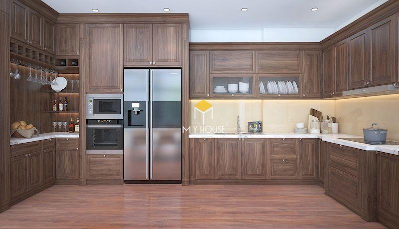 Tủ bếp hiện đại gỗ tự nhiên có độ bền cao
