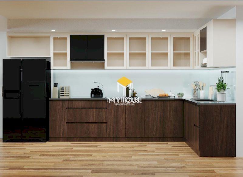Tủ bếp gỗ công nghiệp phủ melamine