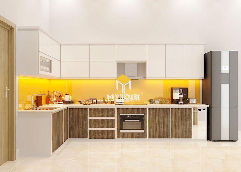 Tủ bếp gỗ công nghiệp phủ melamine và laminate