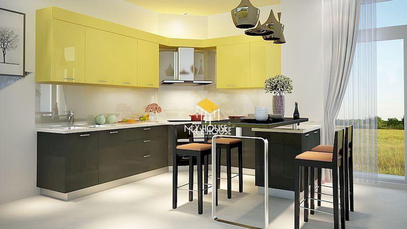 Tủ bếp màu ấn tượng