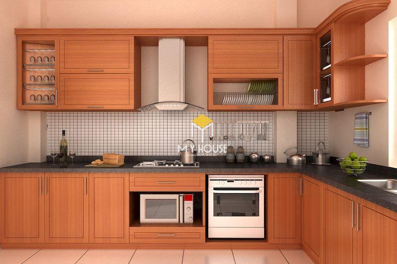 Mẫu tủ bếp hiện đại gỗ tự nhiên