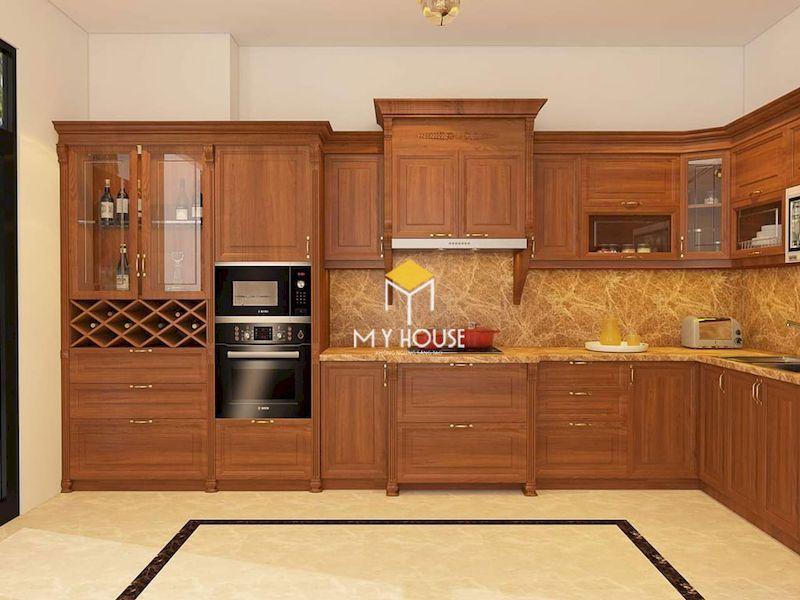 Tủ bếp gỗ tự nhiên chữ L