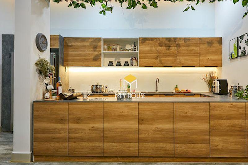 Mẫu tủ bếp laminate vân gỗ
