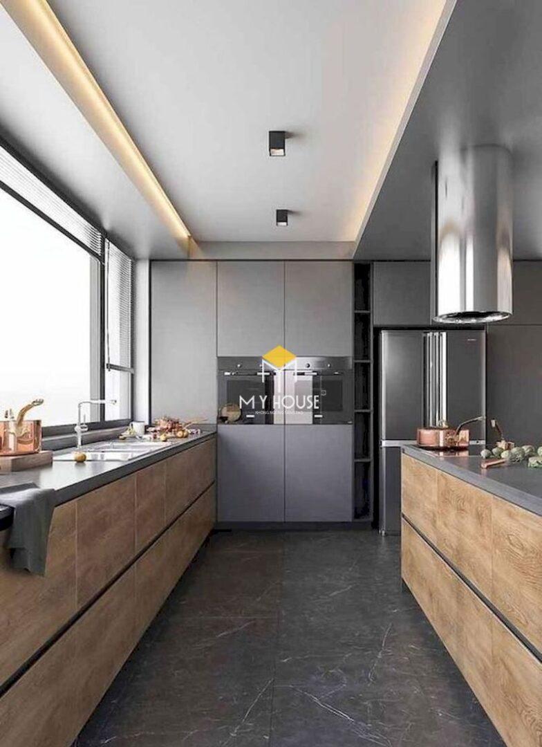 Mẫu tủ bếp song song gỗ công nghiệp phủ laminate