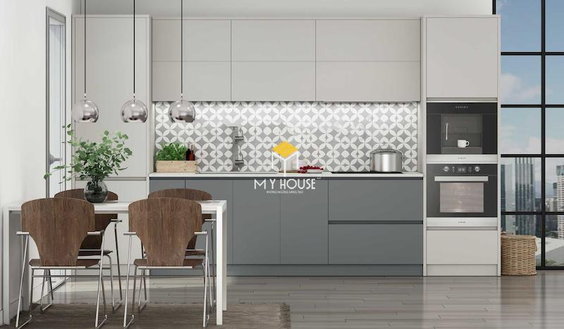 Mẫu tủ bếp laminate màu trơn