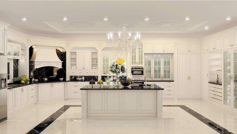 Tủ bếp tân cổ điển màu trắng cho biệt thự cao cấp