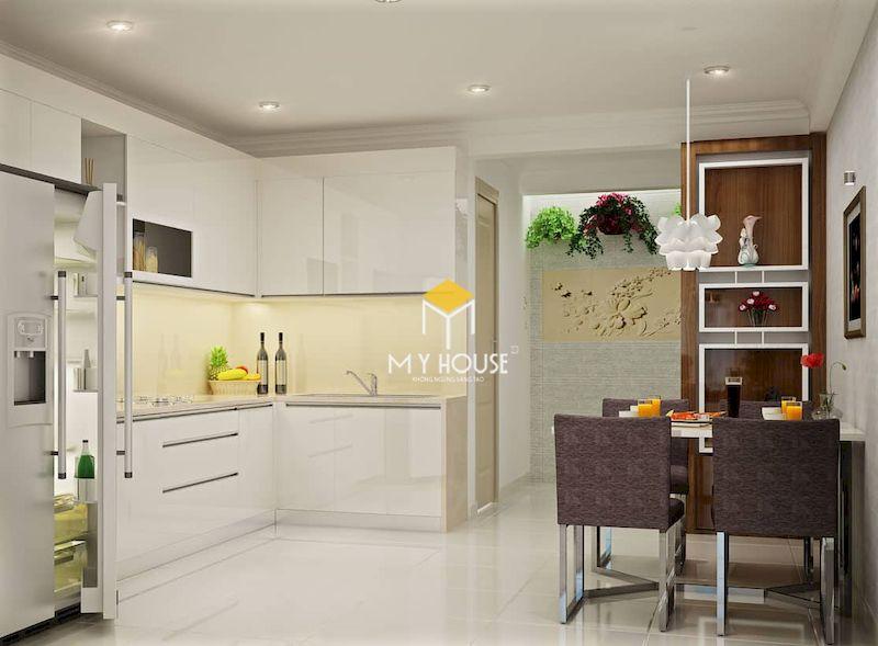 Mẫu tủ bếp màu trắng cho chung cư nhỏ, giúp làm thông thoáng không gian