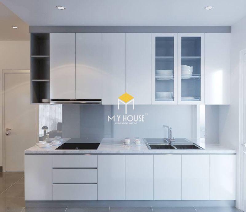 Tủ bếp màu trắng đẹp cho nhà nhỏ