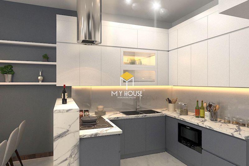 Màu trắng kết hợp với màu xám để tạo nên không gian nội thất phòng bếp hiện đại