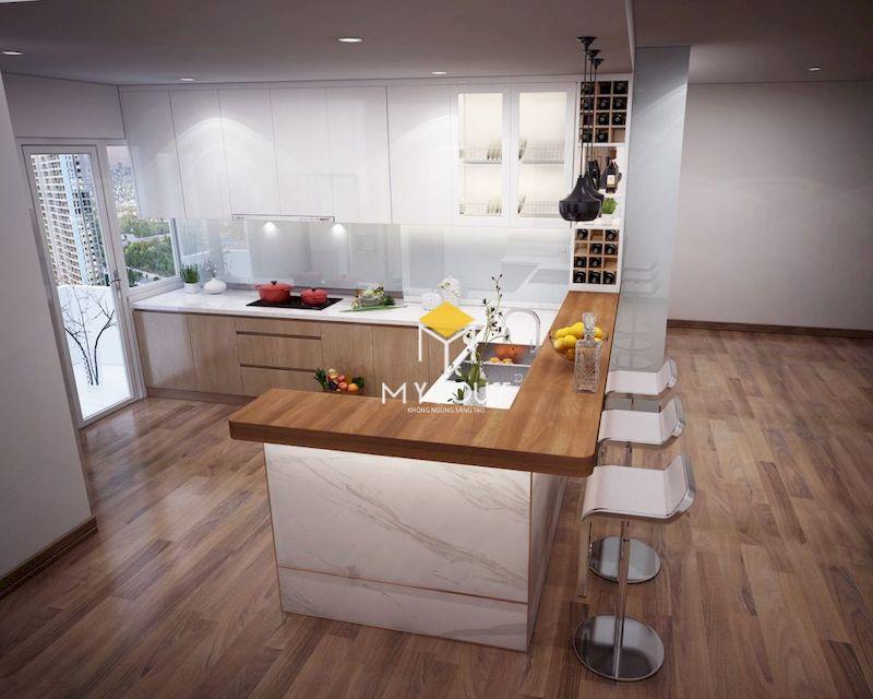 Thiết kế tủ bếp màu trắng phủ acrylic và laminate vân gỗ